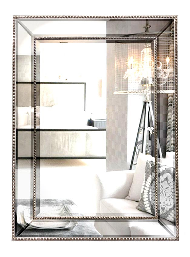 Silver Beaded Wall Mirror