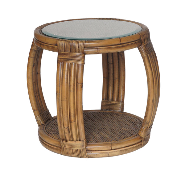 Natural Rattan Round Side Table