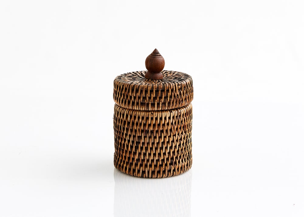 Rattan Round Trinket Box With Lid