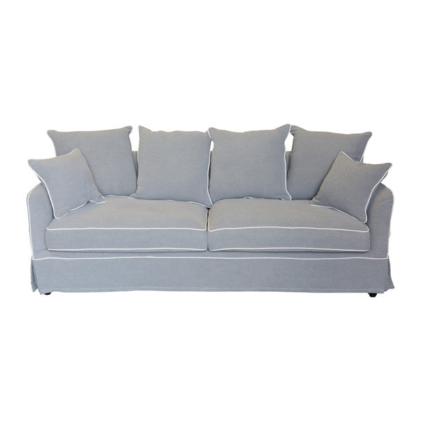 Classic hamptons style sofa in grey with white piping for Classic style sofa
