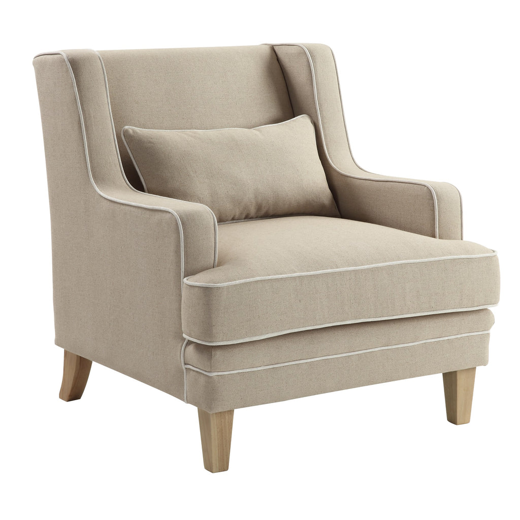 Newport Armchair In Natural With White Piping