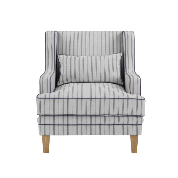 Newport Armchair In Blue And White Pinstripe