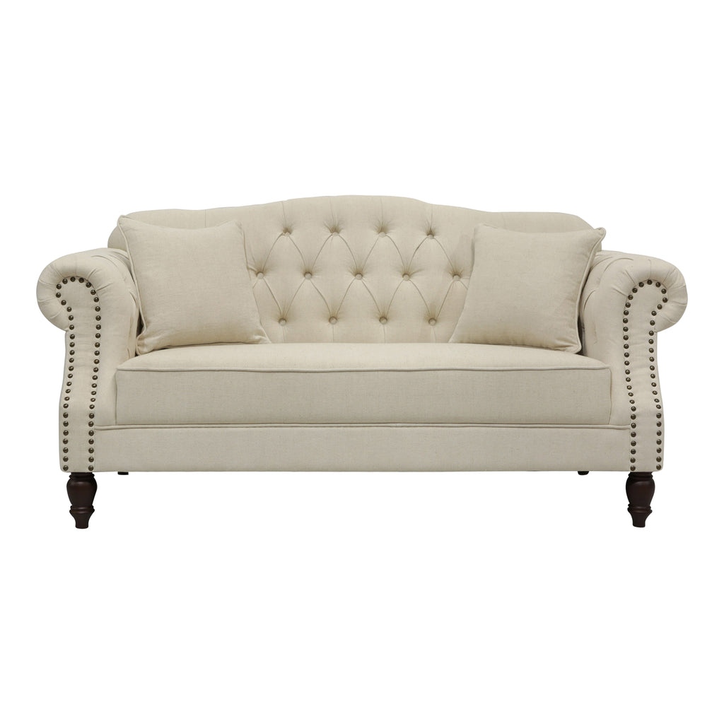 Picture of: Beige Linen Chesterfield Two Seater Sofa With Studs Luxe Furniture Homewares