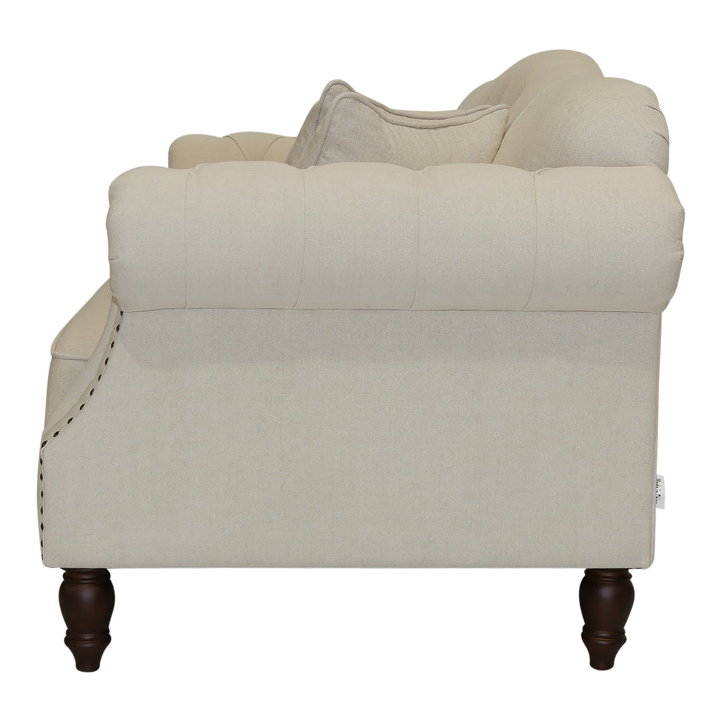 Beige Linen Chesterfield Two Seater Sofa With Studs
