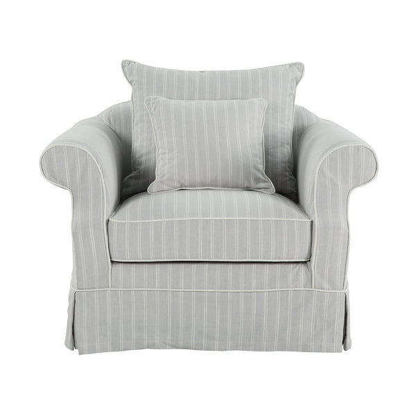 Lexington Armchair In Classic Silver Grey Pinstripe