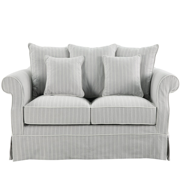 Lexington Two Seater Sofa In Classic Silver Grey Pinstripe