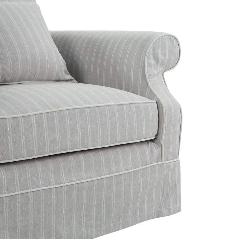 Lexington Three Seater Sofa In Classic Silver Grey Pinstripe