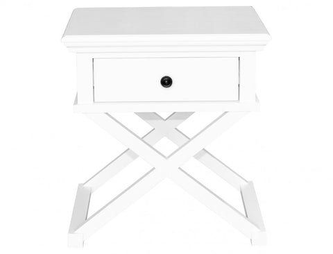 Newport Cross Leg Side Table In White