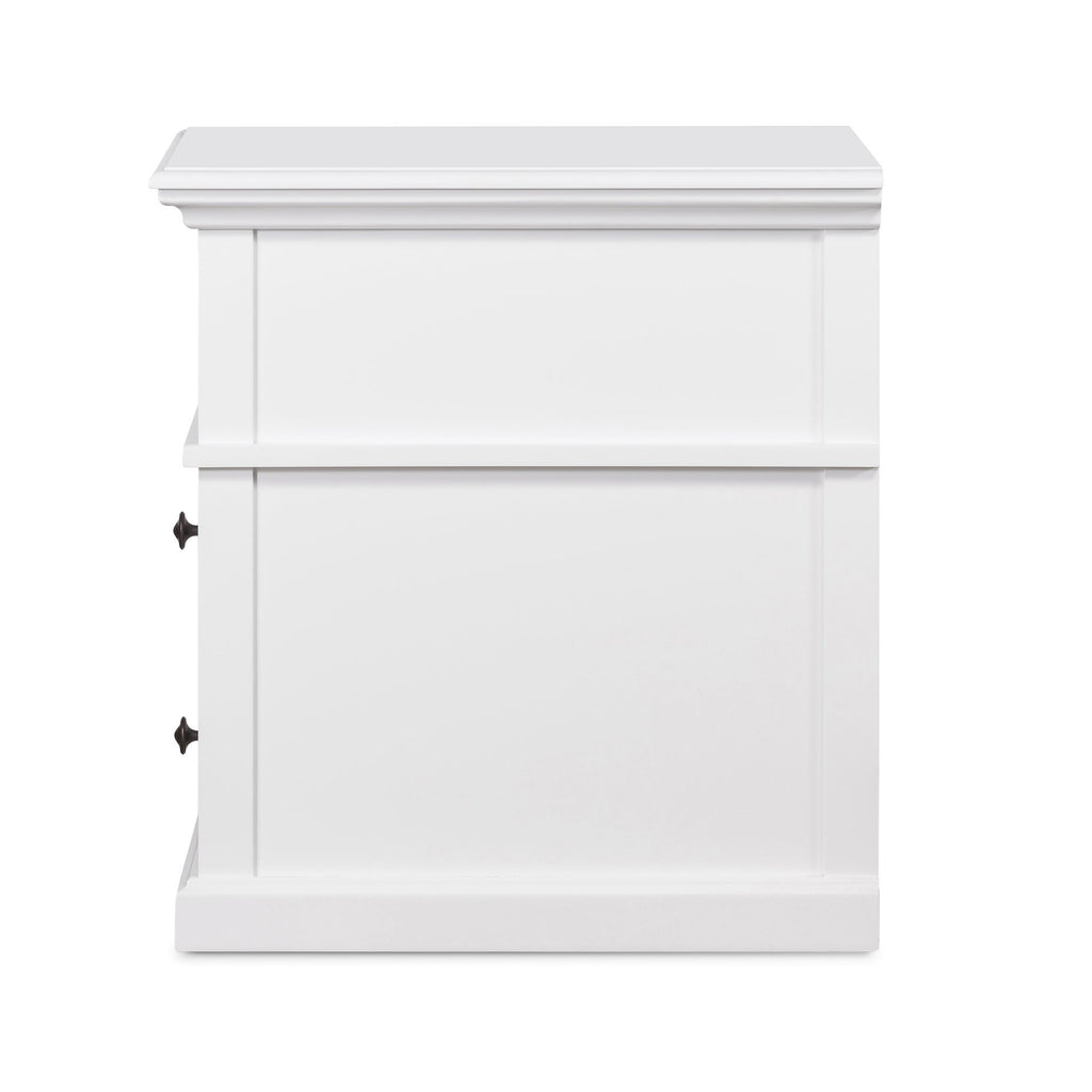 Newport Medium Two Drawer Side Table In White