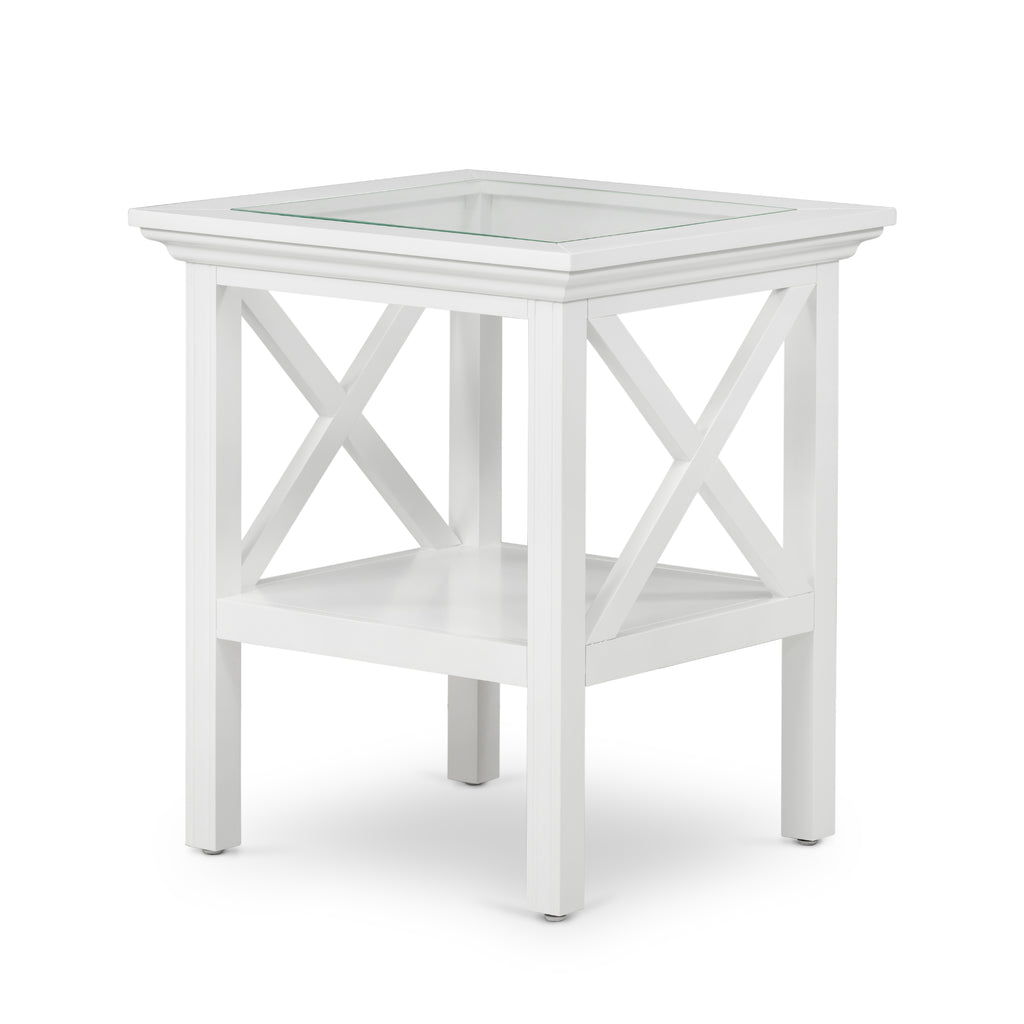 Newport Glass Top Side Table