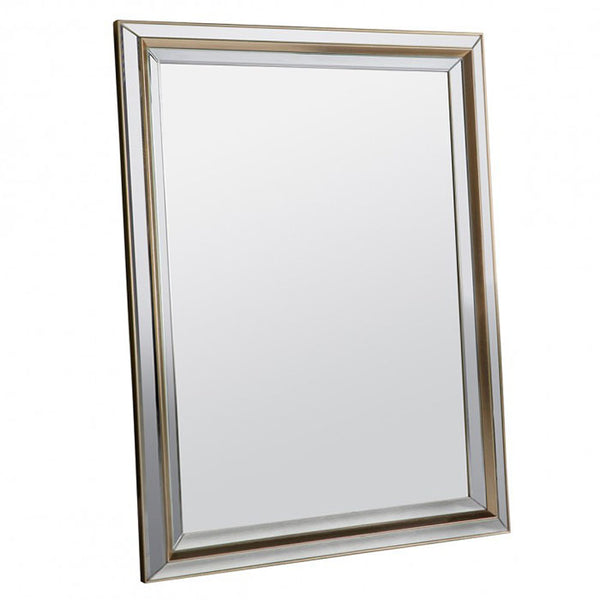 Rectangular Gold Bevelled Wall Mirror