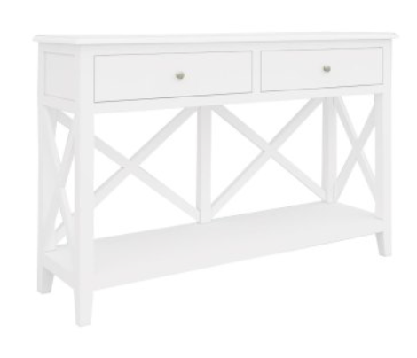 South Hampton Two Drawer Console Table In White - PREORDER