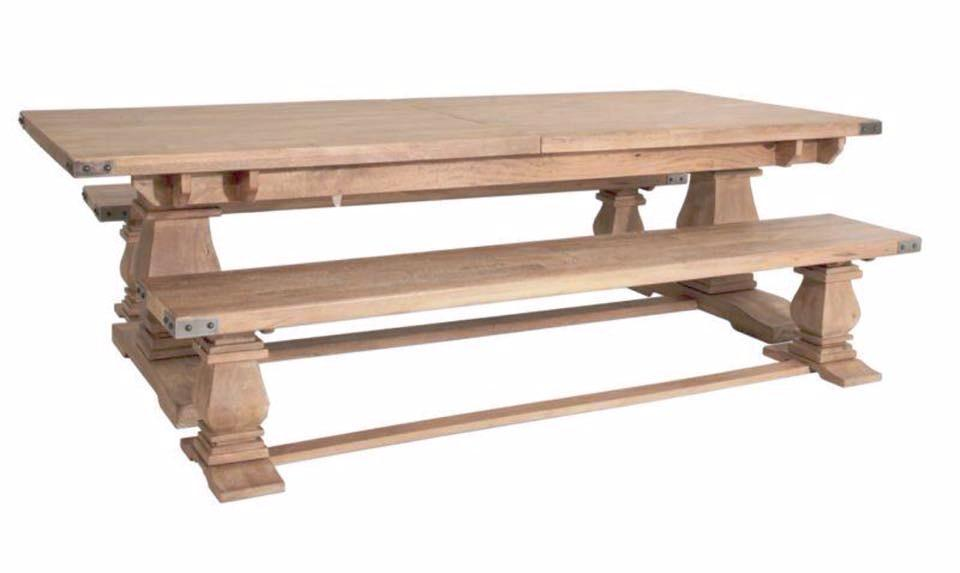 230cm Hamptons Collection Solid Hardwood Dining Table (Suite Options Also Available)