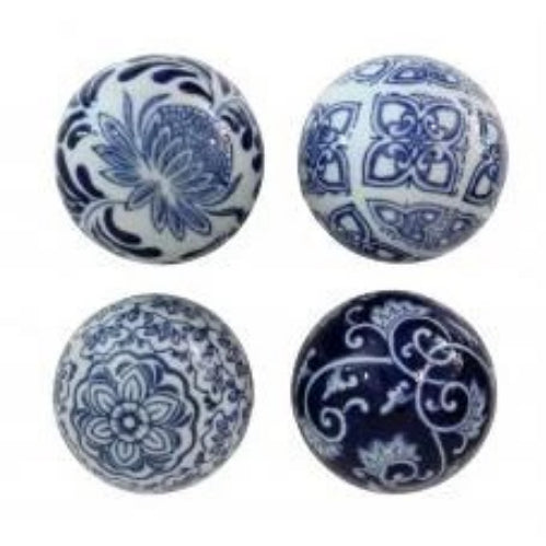 Blue & White Set of Four Decorator Balls
