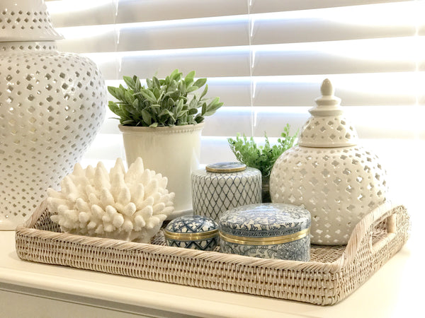 Rattan Tray With Arched Handles In Large - White Washed
