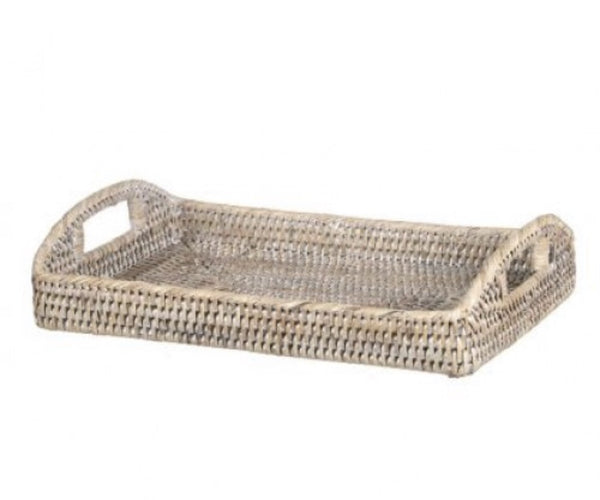 Rattan Tray With Arched Handles In Small - White Washed