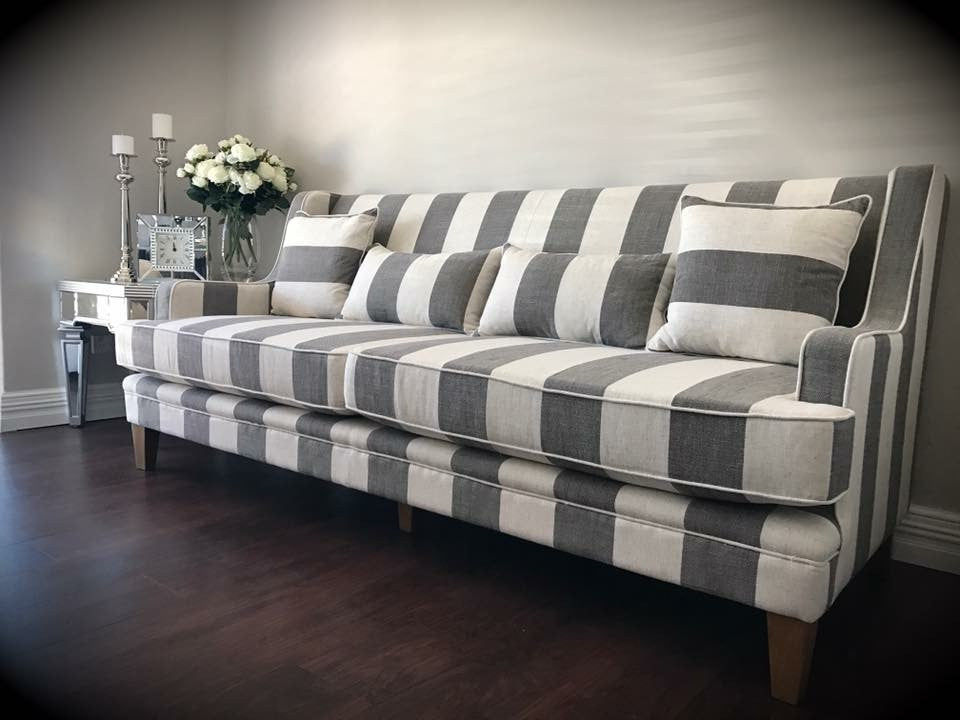 Newport Three Seater Sofa In Grey Stripe Linen