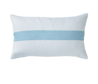 Hamptons Sky Blue Stripe Lumbar Cushion 30cm x 50cm
