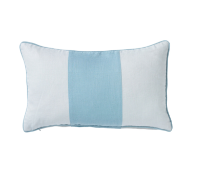 Hamptons Sky Blue Riviera Stripe Lumbar Cushion 30cm x 50cm