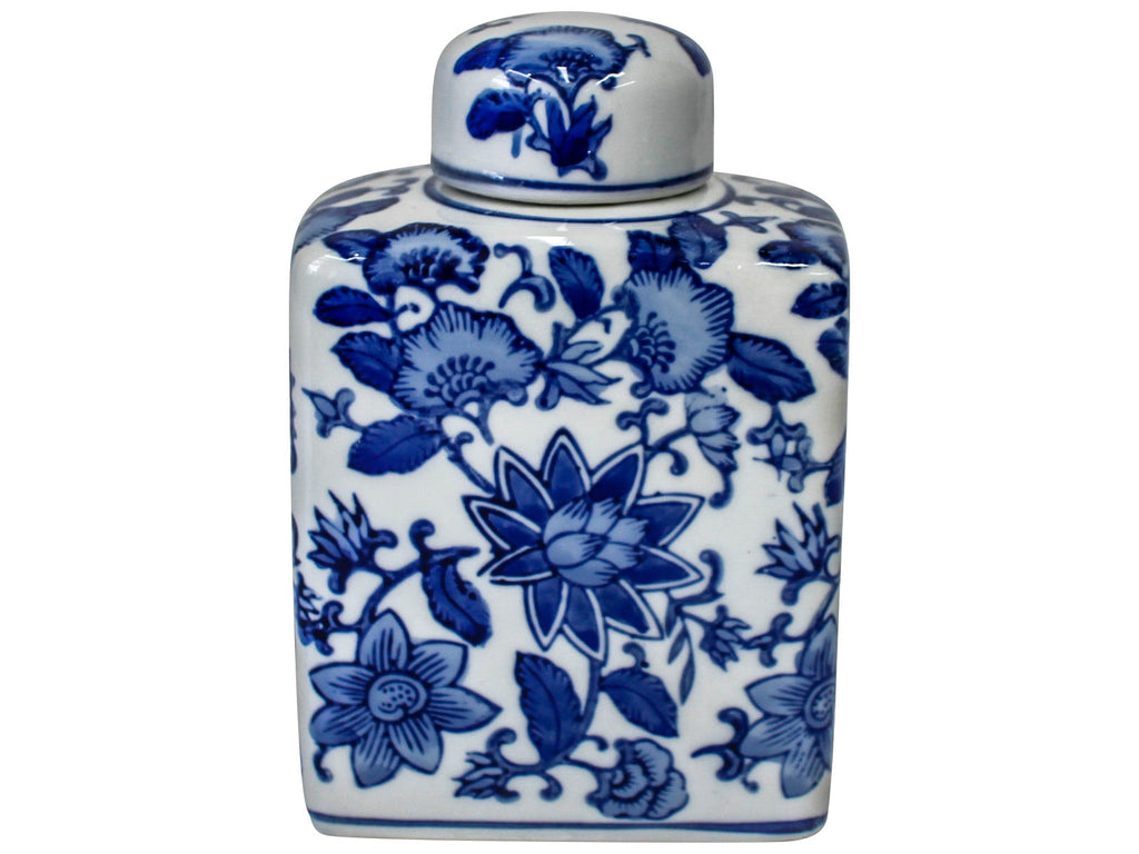 Blue & White Rectangular Lotus Jar