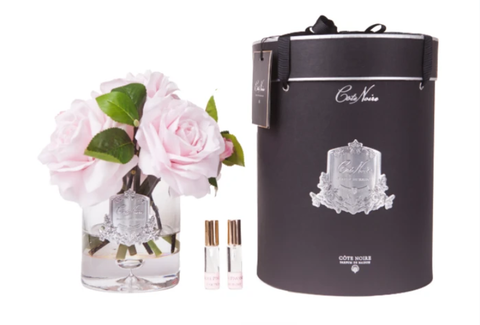 Côte Noire Luxury Grand Perfumed Natural Touch French Pink Tea Roses In Clear Glass Vase