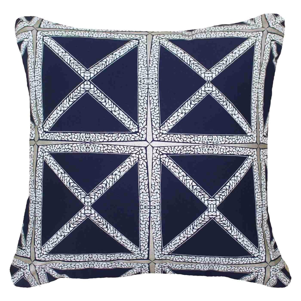 Designer Diamond Star Lounge Cushion In Navy 55x55cm