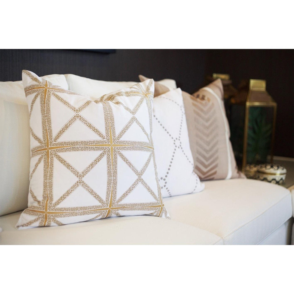 Designer Diamond Star Lounge Cushion In White & Gold 55x55cm