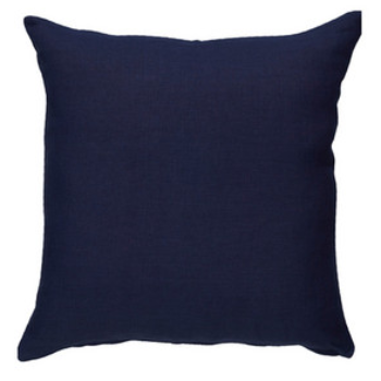 Navy Canvas Cushion With White Piping 50cm