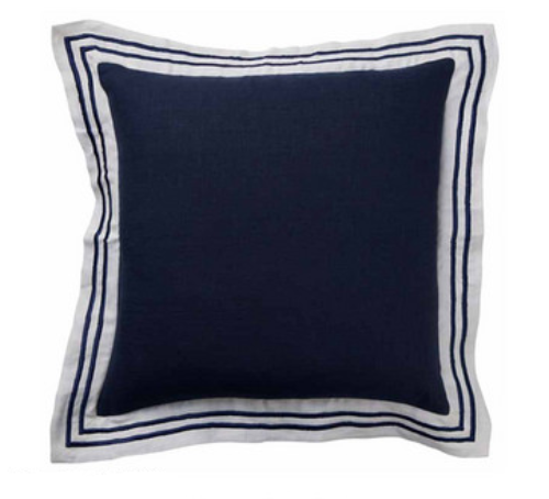 Navy Linen Striped Border Cushion 50cm