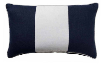 Hamptons Navy Blue Riviera Stripe Lumbar Cushion 30cm x 50cm