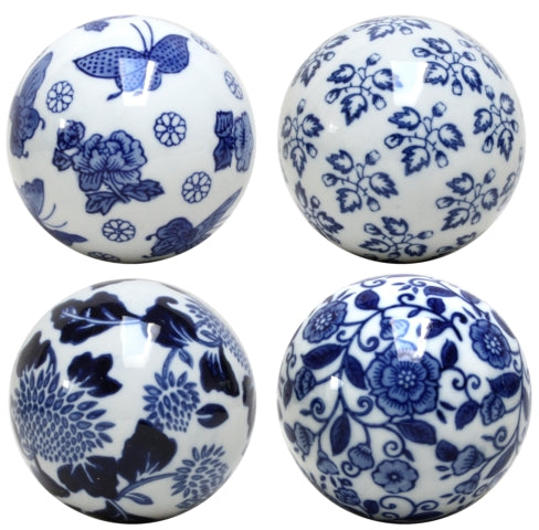 Blue & White Set of Four Floral Decorative Balls