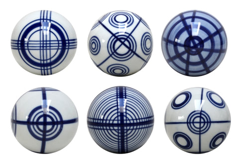 Blue & White Set of Six Geometric Decorator Balls