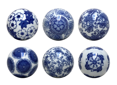 Blue & White Set of Six Botanical Decorator Balls