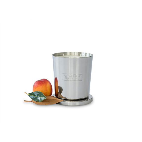 Flower Box Home Fragrance Peach & Magnolia - 1kg Silver Candle