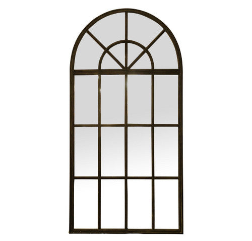Classic Black Iron Arched Wall Mirror