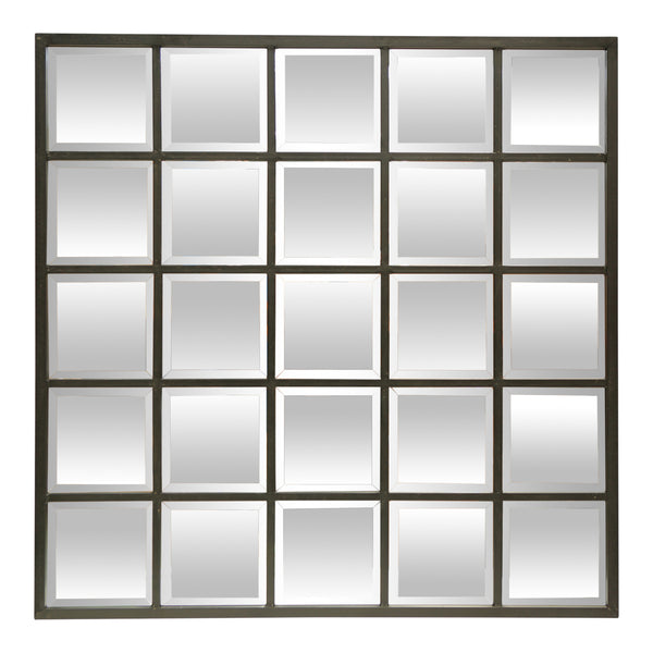Bevelled Black Square Paned Mirror