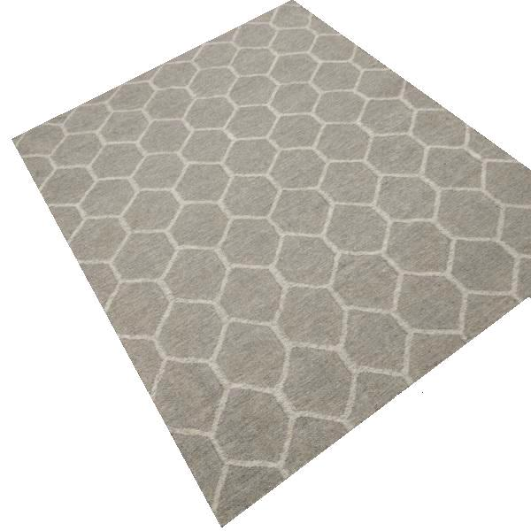 Beige Grey & White Patterned Wool Rug