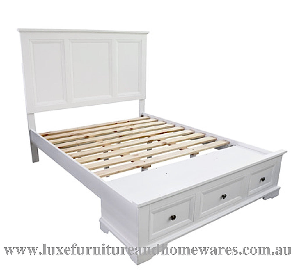Bayview White Wood Queen Size Bed Frame Luxe Furniture Homewares