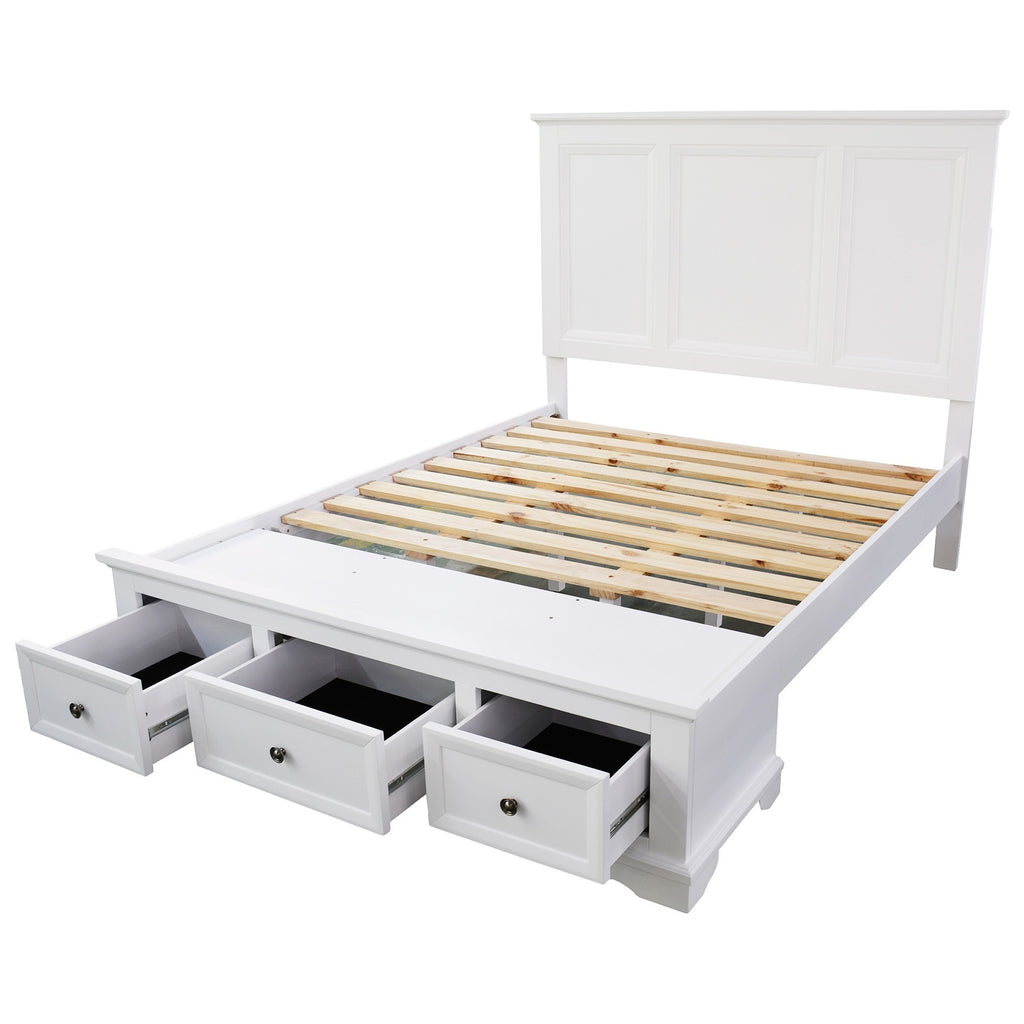 Bayview White Wood King Size Bed Frame Luxe Furniture Homewares