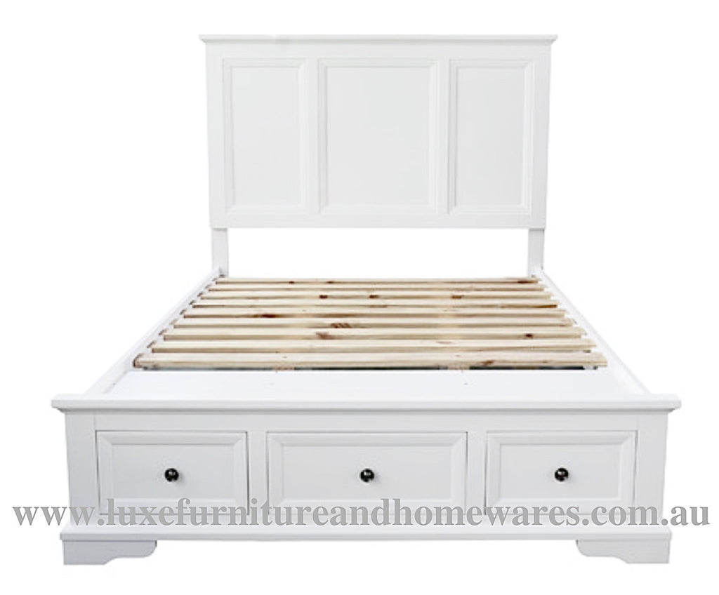 Bayview White Wood Queen Size Bed Frame