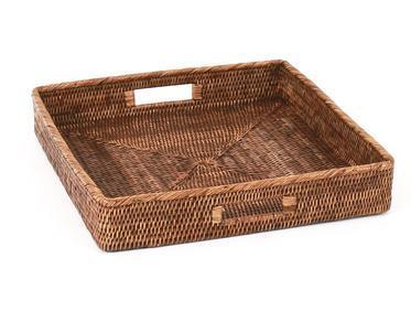 Square Rattan Tray With Handles