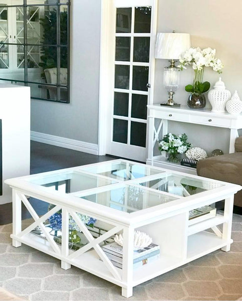 Newport Square Coffee Table In White - PREORDER