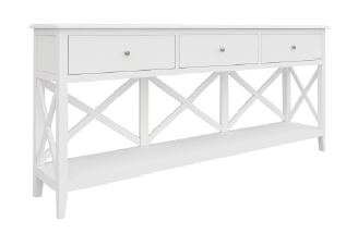 South Hampton Three Drawer Console Table In White