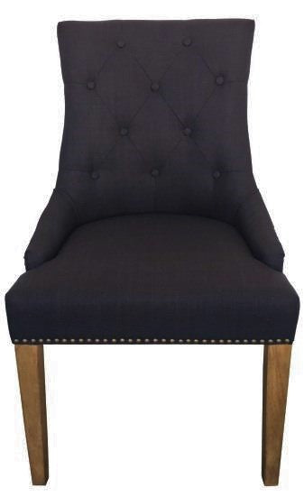 Marseille Button Tufted Round Backed Chair In Black Linen