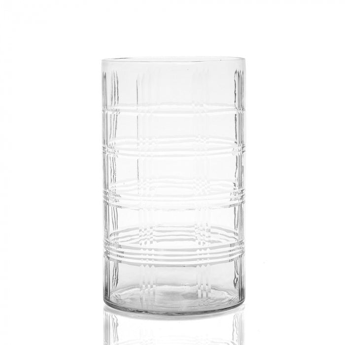 Diamond Cut Tall Hurricane Vase In Small