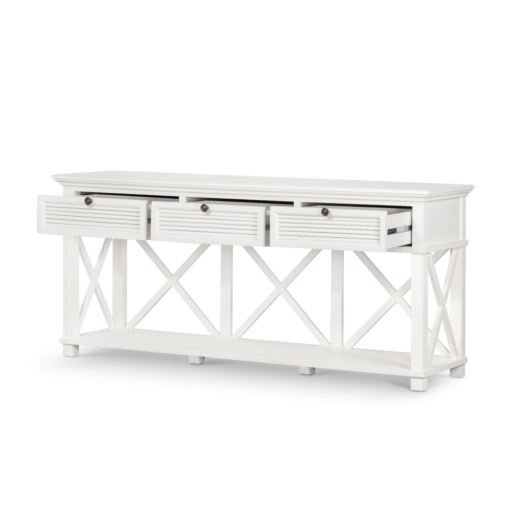 Long Island Three Drawer Console Table In White