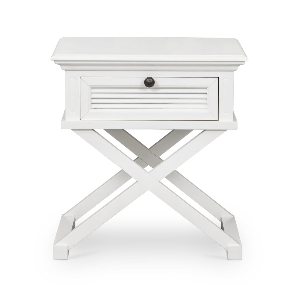 Long Island Cross Leg Side Table In White