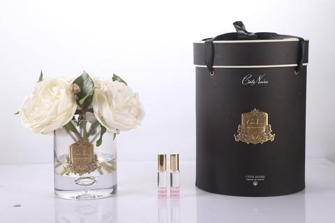 Côte Noire Grand Perfumed Natural Touch Champagne Peonies In Clear Glass