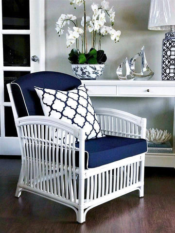 Hamptons White & Navy Rattan Armchair