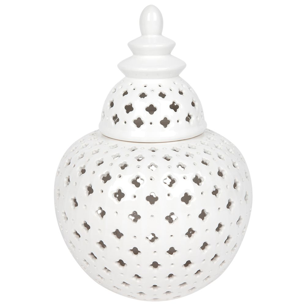 Large Hamptons Style Miccah Temple Jar In White